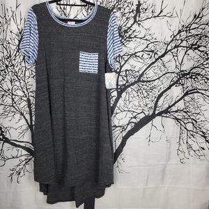 LuLaRoe Carly Dress Grey w Blue & White Stripes XL